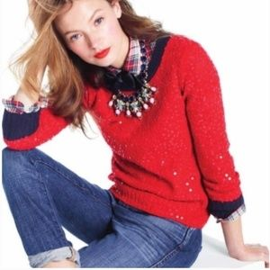J. Crew Red Sequin Sweater Size XL
